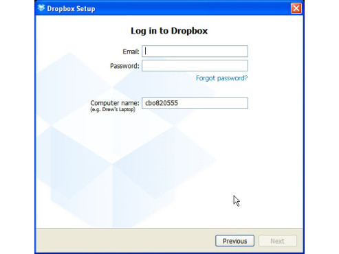 Dropbox-Setup: Login