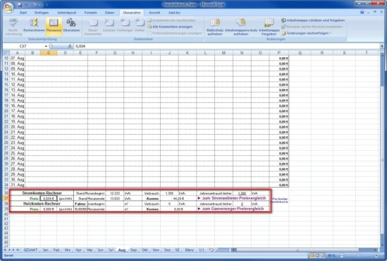 Spartipp-Haushaltsbuch: Der Energierechner