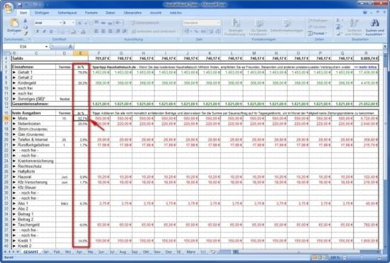 Spartipp-Haushaltsbuch: Die Kostenverteilung