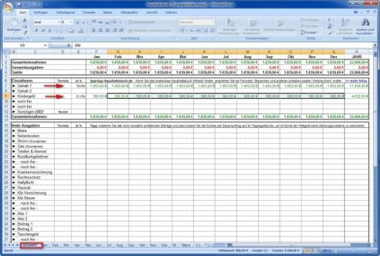 Spartipp-Haushaltsbuch: Einnahmen erfassen