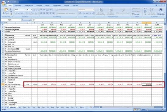 Spartipp-Haushaltsbuch: Fixkosten auf Monatsbasis berechnen