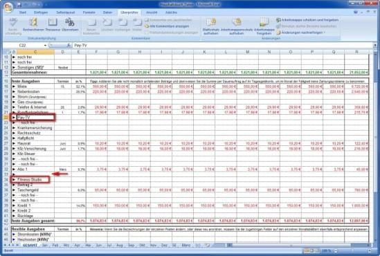 Spartipp-Haushaltsbuch: Kostenkategorien ändern