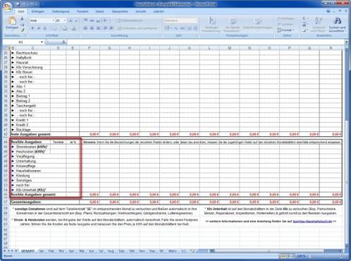 Spartipp-Haushaltsbuch: Variable Ausgaben