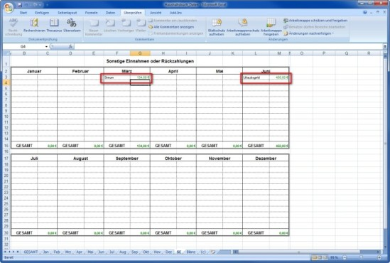 Spartipp-Haushaltsbuch: Zusatzeinkommen eintragen