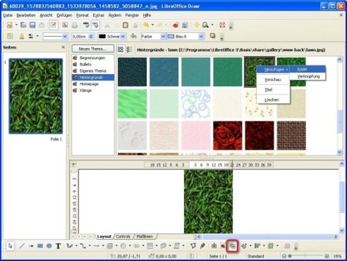 LibreOffice: Hintergründe, Sounds und Homepage-Symbole ergänzen