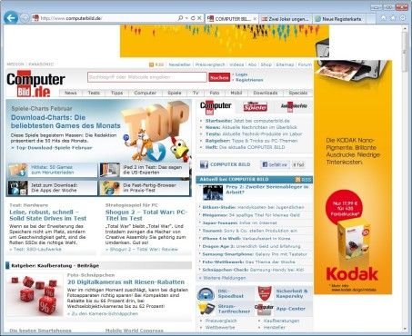 Screenshot 1 - Internet Explorer 9 (Windows 7, 64 Bit)