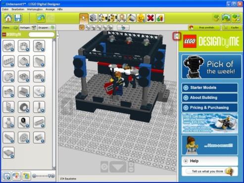 Lego Digital Designer: Seitenleiste verstecken