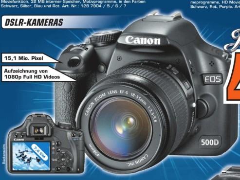 Canon EOS 500D inklusive Objektiv EF-S 18-55 Millimeter ©Saturn