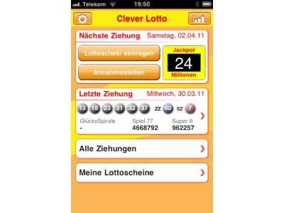 download und info clever lotto app f r das iphone computer bild. Black Bedroom Furniture Sets. Home Design Ideas