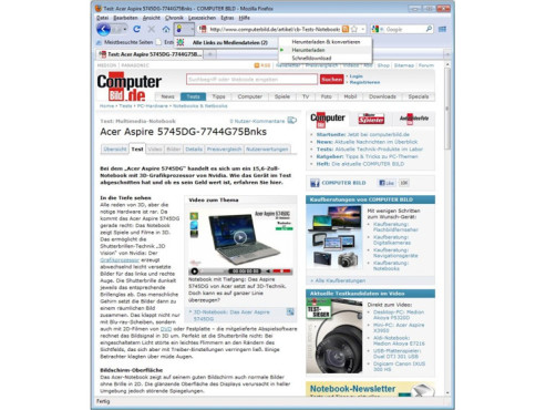 Screenshot DownloadHelper © COMPUTER BILD