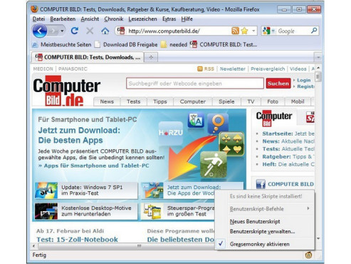 Screenshot Greasemonkey © COMPUTER BILD