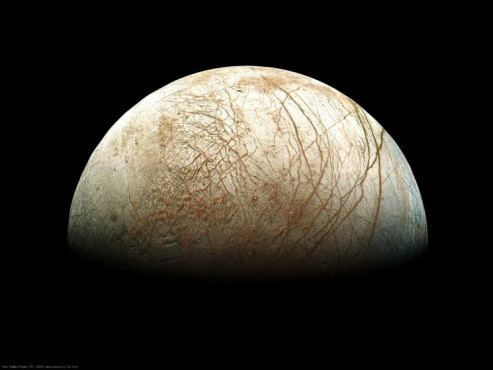 Der Jupiter-Mond Europa ©Galileo Project, JPL, NASA; reprocessed by Ted Stryk