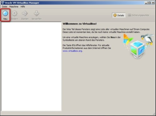 VirtualBox: Neue Virtual Machine erstellen