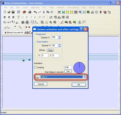 Powerbullet Presenter: Art der Animations festlegen