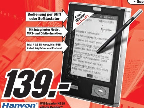 Hanvon WISEreader N518 © Media Markt