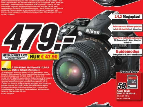 Nikon D 3100 Kit inklusive 18–55 mm VR 1:3,5–5,6 © Media Markt