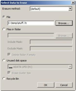 Eraser: Datensatz einstellen