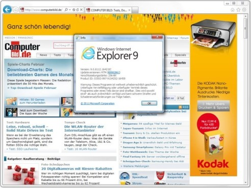 Internet Explorer 9 ©COMPUTER BILD