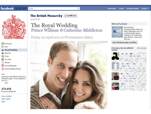 Facebook-Seite The British Monarchy © COMPUTER BILD