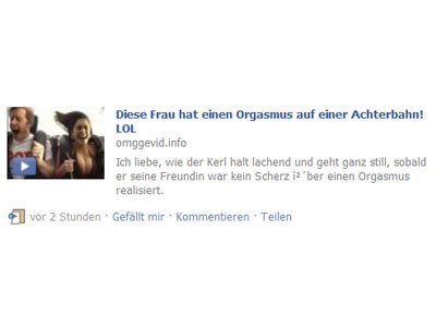 Orgasmus-Video Spam bei Facebook © COMPUTER BILD