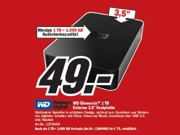 Western Digital WD Elements Desktop 1 TB © Media Markt
