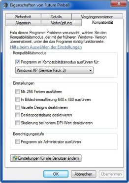 Future Pinball: Windows-7-Problem beheben