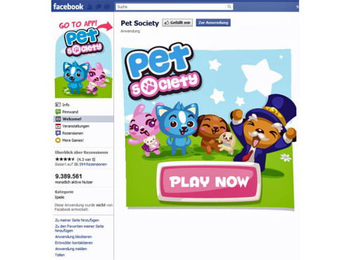 Platz 9: Pet Society © Facebook