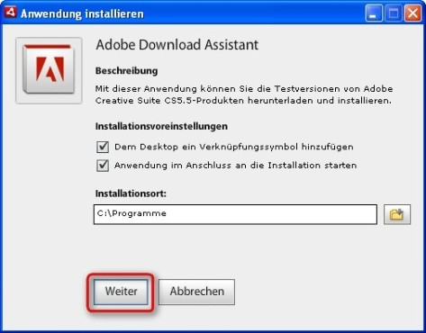 Dreamweaver: Adobe Download Assistant installieren