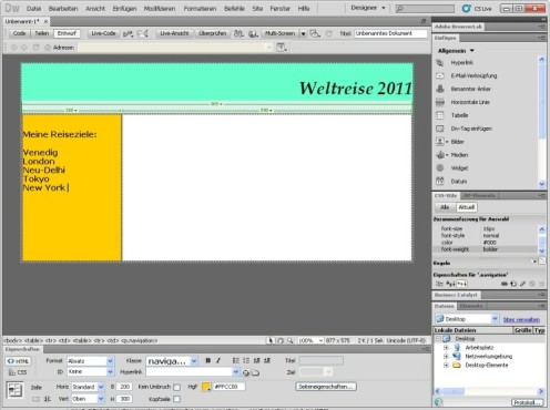 Dreamweaver: Navigation anlegen