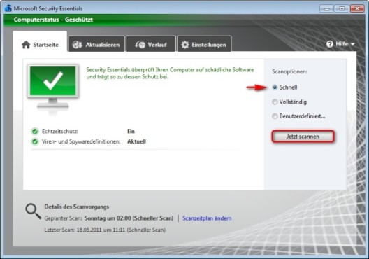 Microsoft Security Essentials: Schnellsuche starten