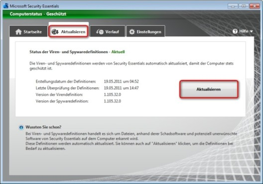 Microsoft Security Essentials: Virendefinitionen manuell herunterladen