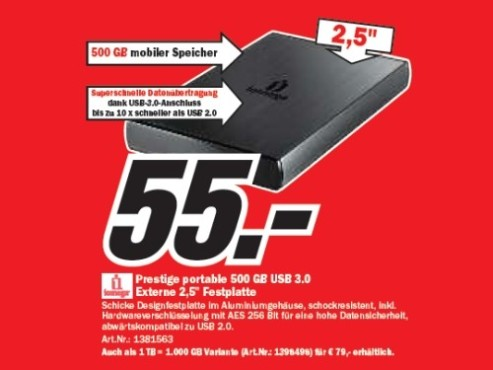 Iomega Prestige portable 500 GB USB 3.0 © Media Markt