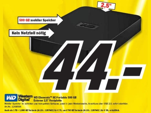 WD Elements SE Portable 500GB © Media Markt