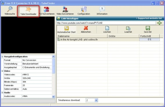 Free FLV Converter: Download-Manager �ffnen