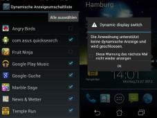 Asus PadFone: Smartphone-Tablet-Kombination im Test Nutzer müssen alle Apps im Menü zur dynamischen Anzeige markieren (links), sonst scheitert die automatische Umschaltung in den Tablet-Betrieb (rechts). ©COMPUTER BILD