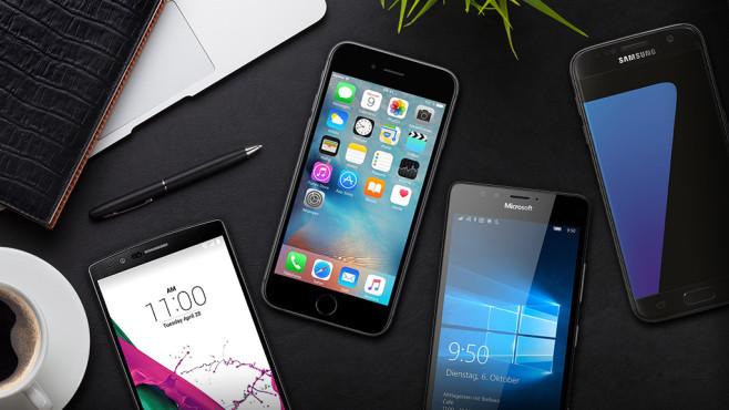 Smartphones ©karandaev – Fotolia.com, Apple, Samsung, LG, Microsoft