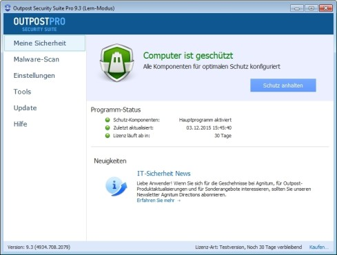 Screenshot 1 - Outpost Security Suite Pro (64 Bit)
