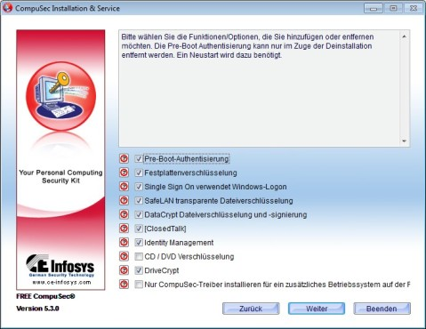 Screenshot 1 - Free CompuSec (64 Bit)