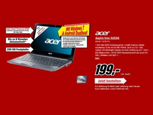 Acer Aspire one D255E ©COMPUTER BILD