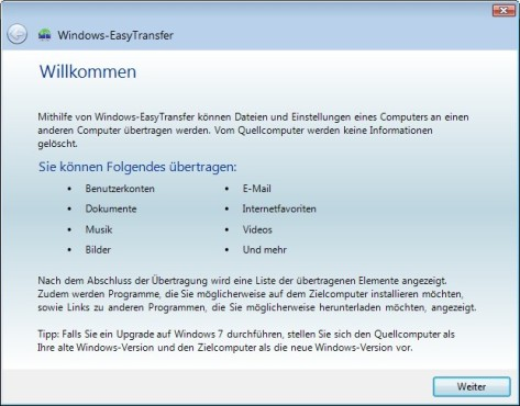 Screenshot 1 - Windows-EasyTransfer (Vista nach Windows 7, 64 Bit)
