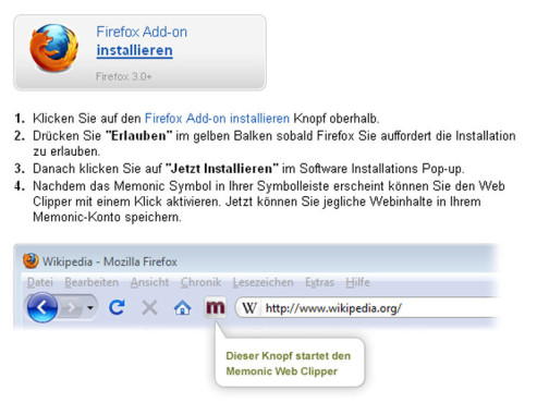 Memonic Add-on für Firefox © COMPUTER BILD
