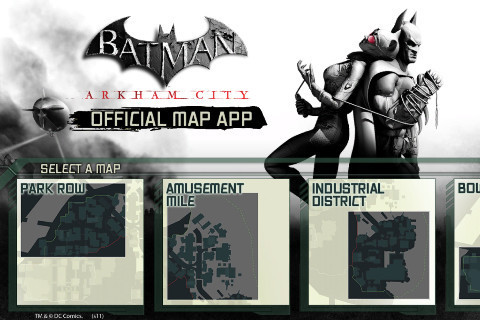 Batman Arkham City Official Map App © Dorling Kindersley Ltd