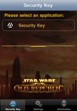 Star Wars The Old Republic Mobile Security Key © Electronic Arts
