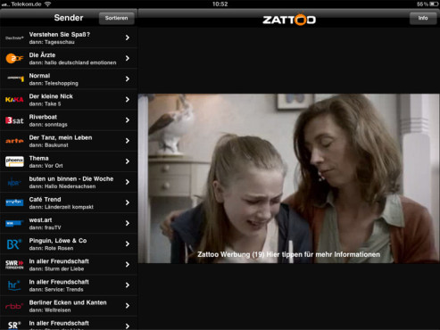 TV DIGITAL: Zattoo Live-TV-App mit Angebot f�r iPhone und iPad © Zattoo