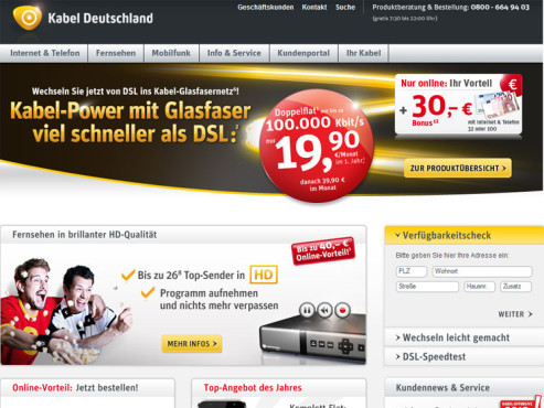 Screenshot Homepage Kabel Deutschland © Kabel Deutschland