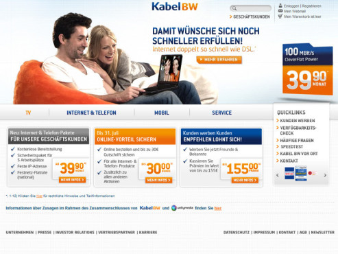 Screenshot Homepage KabelBW © Kabel BW