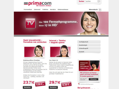 Screenshot Homepage Primacom © Primacom