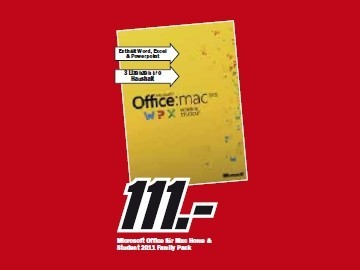 Microsoft Office für Mac Home & Student 2011 Family Pack © Media Markt