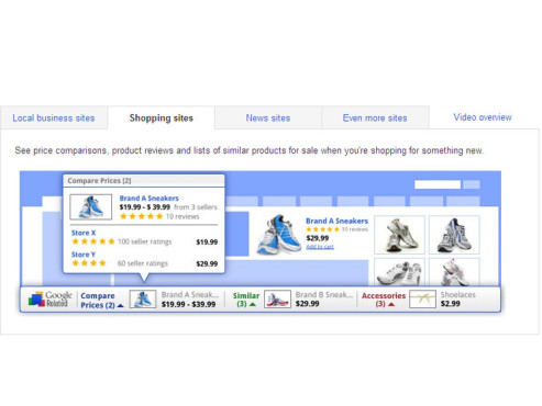Shopping sites © Google