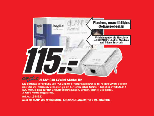 Devolo dLAN 500 AVmini Starter Kit © Media Markt